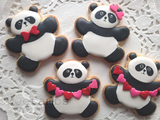 Panda bear cookies are cute, but I think they're even cuter with heart bows and heart garlands!Here's what you'll need for this project:  Teddy bear cookie cutter (myOrange Vanilla Spice cookie recipeis available in mytutorial shop) Flood