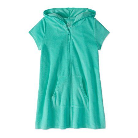 b5a5e400cb65d Wonder Nation Girl's Zip Front Hooded Swim Cover Up, Size: 7/8, Green