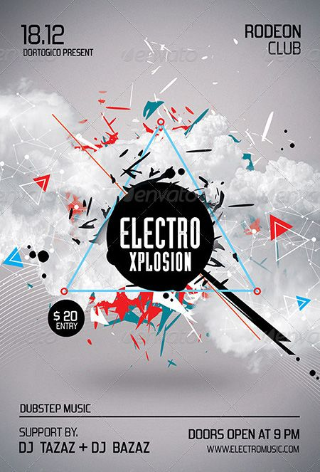 Electro Xplosion Futuristic Flyer and Poster Design Templates - http://www.ffflyer.com/electro-xplosion-futuristic-flyer-and-poster-design-templates/ Electro Xplosion - Futuristic Flyer and Poster Design Templates - This flyer was designed to promote an Electro / Dubstep / Dance / Drum and Bass / Techno / House music event, such as a gig, concert, festival, dj set, party or weekly event in a music club and other kind of special evenings. This flyer can also be used for a new
