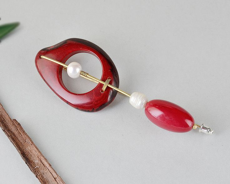 Red tagua brooch, red bead brooch, artisan jewelry, large organic pin, chunky jewelry, rustic jewelry design, women pin, white pearl red pin by ColorLatinoJewelry on Etsy