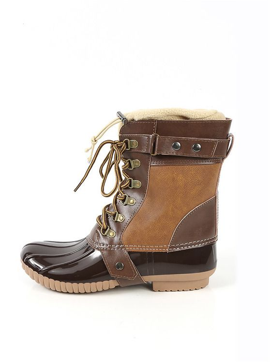 Online shopping for Fleece Trim Rubber Duck Boots CAMEL from a great selection of women's fashion clothing & more at MakeMeChic.COM.