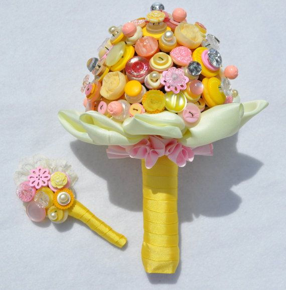 Dolly Mixtures Button Buttonhole  Yellow and Pink by Beaubuttons, £14.00