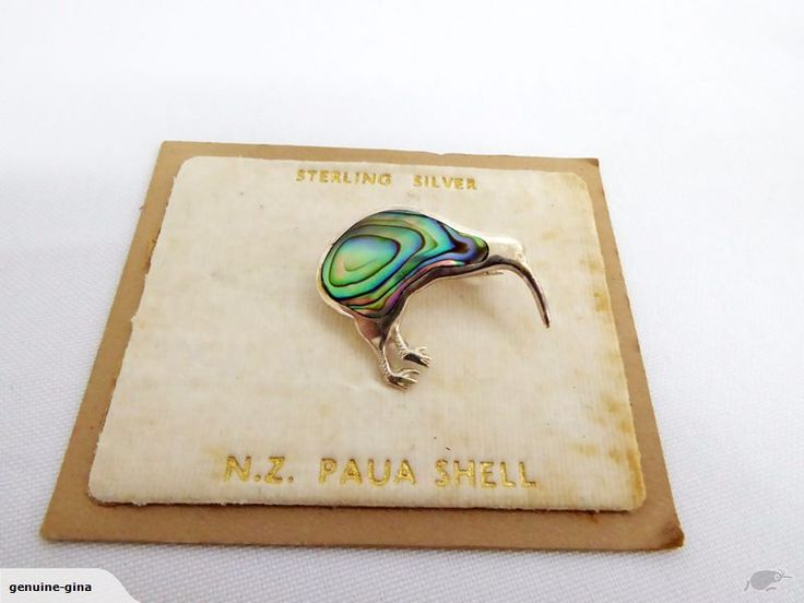 Sterling Silver & Paua Kiwi brooch vintage on original card
