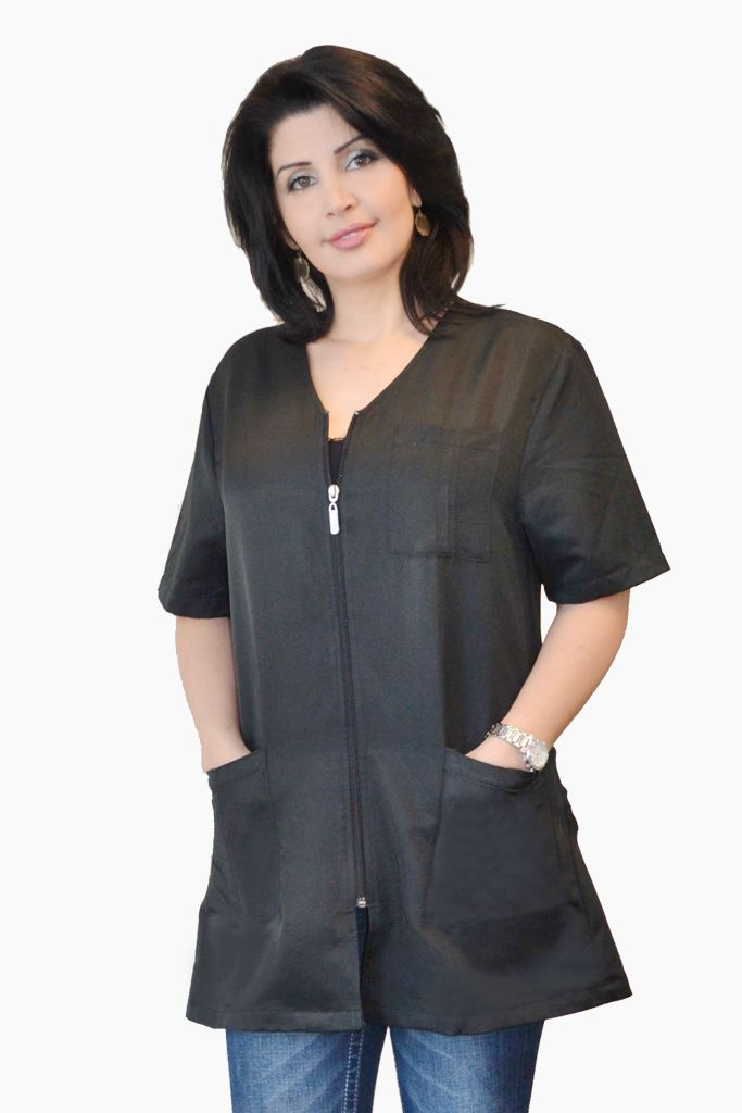 Stylist zipper jacket black salon aprons capes for Spa vest uniform
