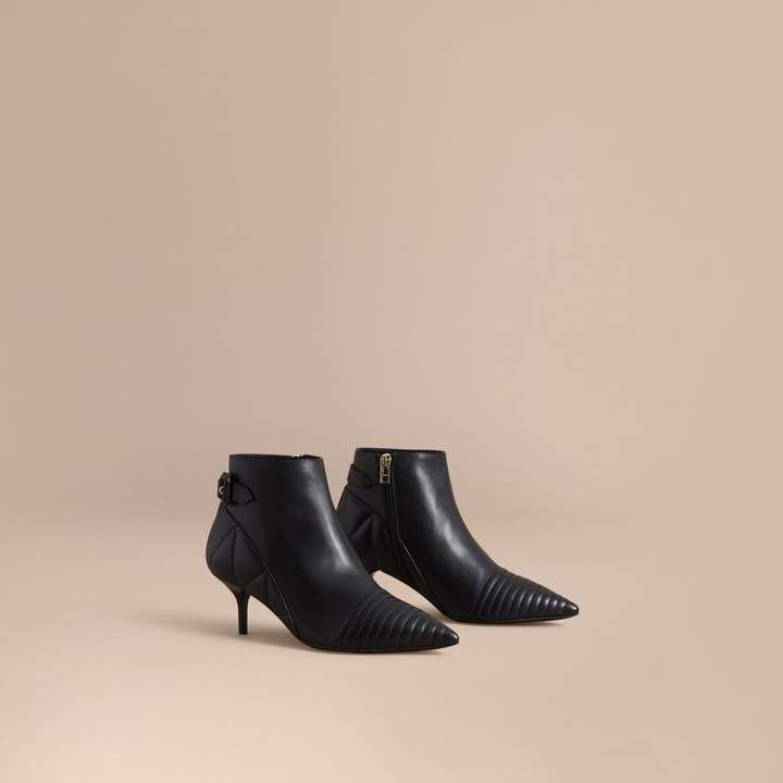 Burberry Quilted Leather Ankle Boots Size 36 5 Black Leather Ankle Boots Pointy Toe Boots Boots