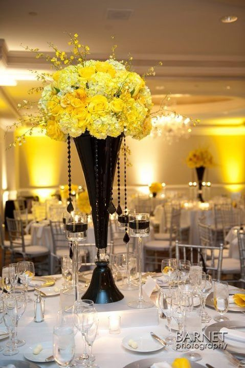 Black And Yellow Centerpiece Events Yellow Pinterest Yellow Centerpieces Centerpieces