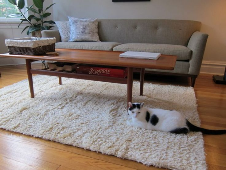 Pure White Shag Rug IKEA A Cozy Sofa With Decorative Pillows Wooden Coffee Table Under