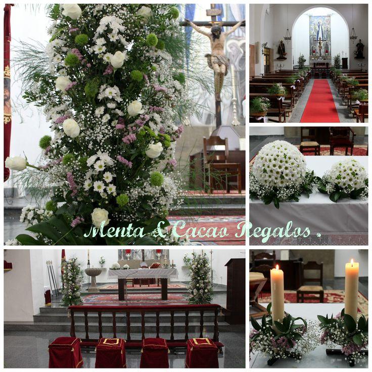 Decoración floral para el altar de la iglesia, boda  P & JA .