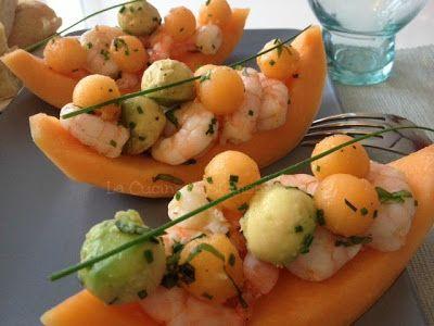 La Cucina di Stagione: Barchette di melone, mazzancolle e avocado