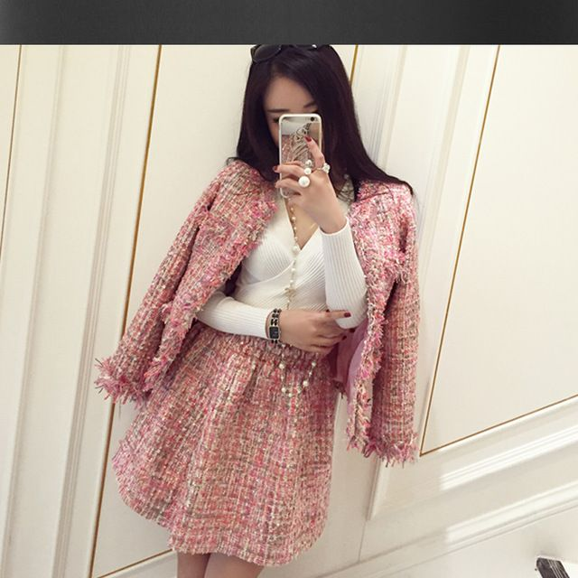 Розовый твидовый пиджак + юбка костюм 2017 осень/зима женская куртка новая дамы туту костюм 2 шт. набор