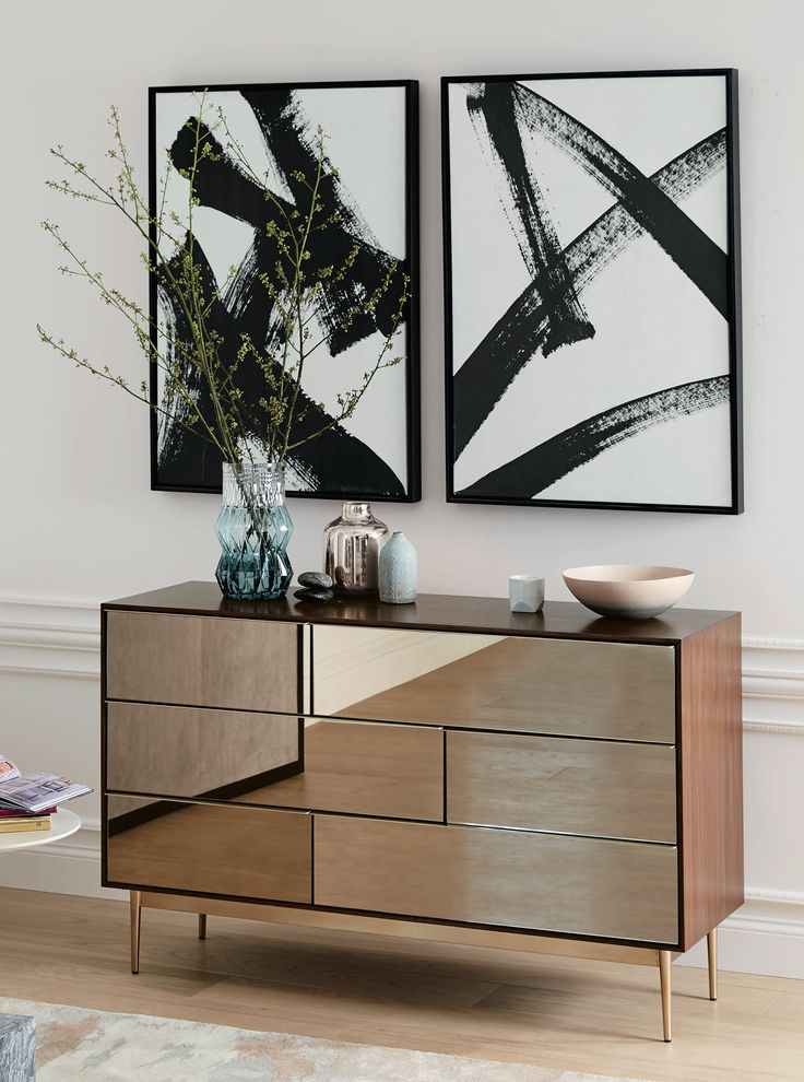 Nouveau Mirror Storage Collection, $399-$1,299; West Elm Print Double X, Running Man, $349
