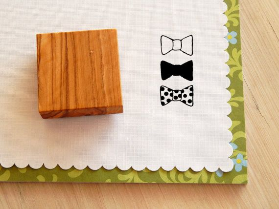 Bow Tie Trio Olive Wood Stamp
