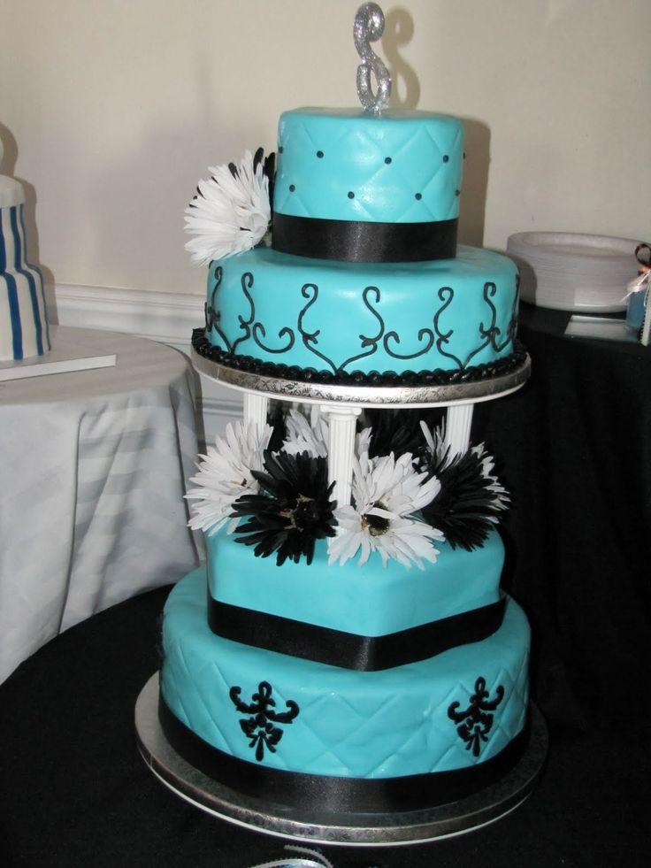tiffany blue and black wedding decorations%0A Leilani u    s Heavenly Cakes  Tiffany Blue and Black Wedding Cake