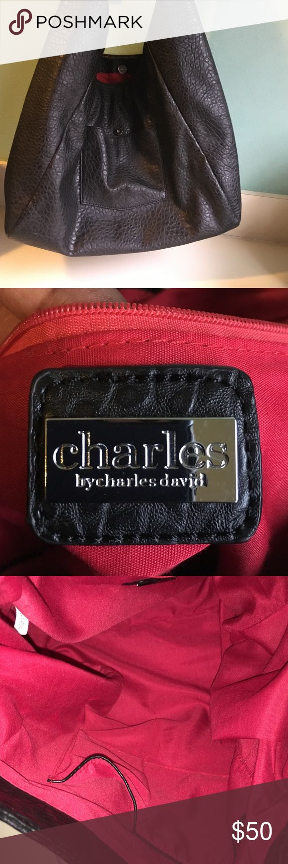 Charles by Charles David black leather, slouch bag Black leather Charles by Charles David, slouchy leather bag.  Red interior (perfect condition) 1 inside zip pocket, cell phone/key pockets.  One outside pocket.  No fading, tears or spots. Charles David Bags Hobos
