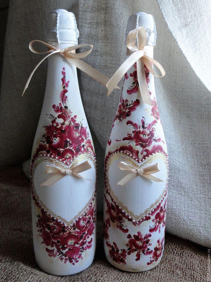 """Купить Роспись бутылок из серии """"Боярское"""". - бордовый, бутылка, бутылка декоративная, оформление бутылок"""