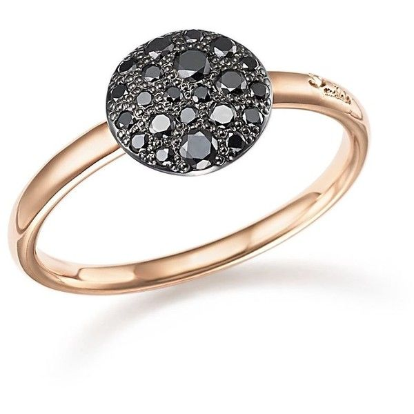 Pomellato Sabbia Ring with Black Diamonds in Burnished 18K Rose Gold ($1,500) ❤ liked on Polyvore featuring jewelry, rings, rose gold black diamond ring, red gold jewelry, black diamond ring, rose gold jewelry and pink gold jewelry
