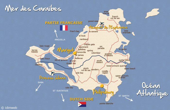 Geographie ile de Saint Martin - situer St Martin ile des caraibes - Office de Tourisme de St Martin - sxm