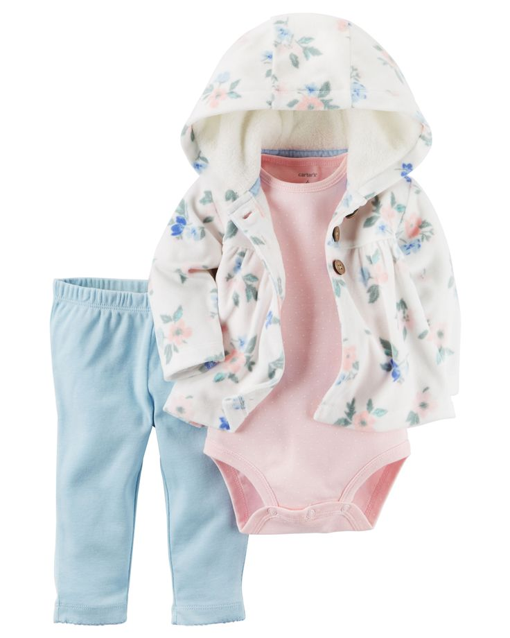 Crafted in plush fleece with a cozy hood and peplum hem, this floral-printed cardigan set is complete with a soft cotton bodysuit and pants.