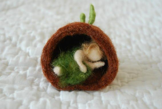 Winter ~ Root Children ~ Sleeping Bulb Baby ~ Felted Wool