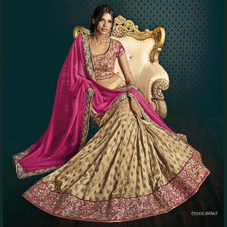 Pure Raw Silk Heavy Embroidery Bridal Lehenga Saree In Beige Color. Buy Now :- https://goo.gl/fp7ldk #CashOnDelivery & #FreeShipping available in India.