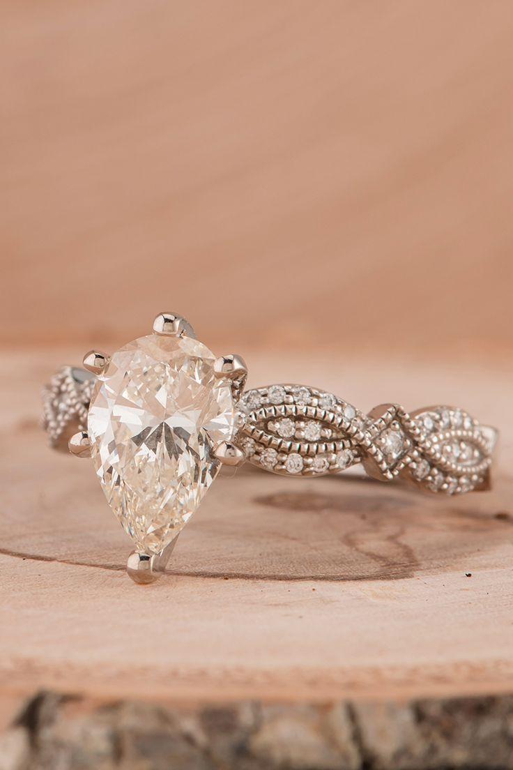 Vintage inspired engagement ring, white gold, milgrain detailing, diamond #ShaneCo
