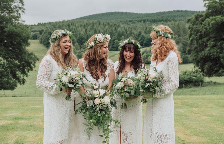 White Crochet Bridesmaid Dresses Flower Crowns Enchanting Ancient Forest Wedding http://donnamurrayphotography.com/