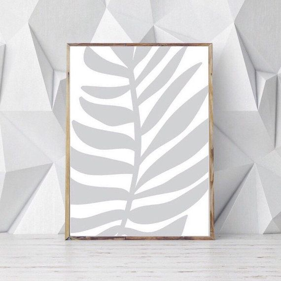 Palm Wall Decor Gray White Wall Decor Tropical Wall by OjuDesign