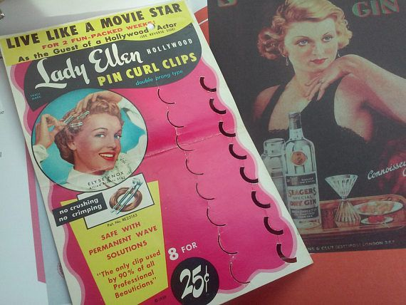 Check out this item in my Etsy shop https://www.etsy.com/listing/523839111/1950s-pin-curl-clips-header-card-lady