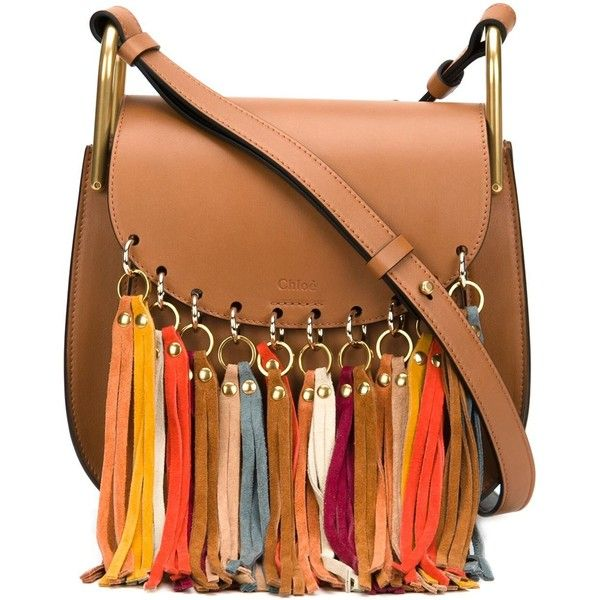Chloe Small Hudson Tassel Bag found on Polyvore featuring bags, handbags, shoulder bags, crossbody, kirna zabete, fringe crossbody purse, chloe crossbody, brown crossbody, brown crossbody purse and leather purse