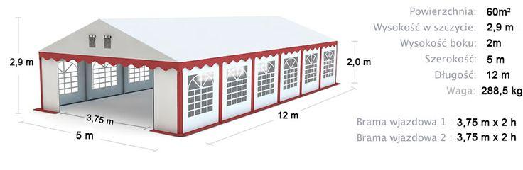 Namiot Handlowy Imprezowy 5m x 12m (60m²) całoroczny STANDARD MAX / Commercial Tent 5x12 Winter