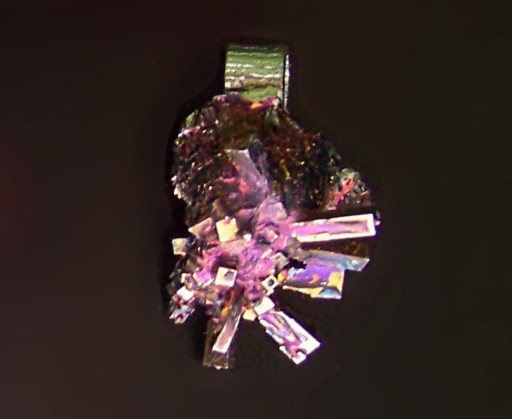 Bismuth Metal Crystal Iridescent Peacock Rainbow, Pendant with choice of Cord or Chain, Bismuth Pendant Jewelry by deleas on Etsy