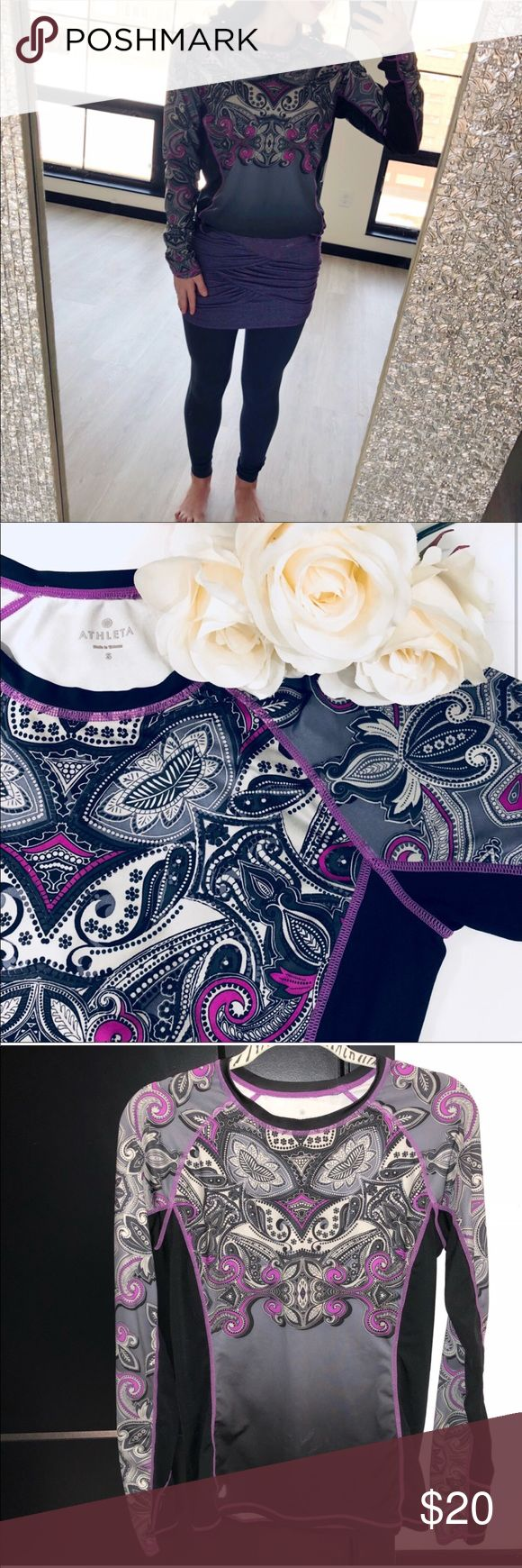 Athleta Paisley Purple Long Sleeve Top Size S This long sleeve top combines cozy with breathability thank to the mesh side panels! The fabric is primarily polyester so you don't need to fret over wrinkles and ironing! I've attached a photo of the slight pilling in the mid to bottom section. It isn't very noticeable. Tops Tees - Long Sleeve