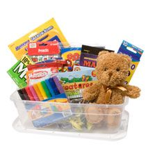 Creating a care package for a child? Be sure to mix a child's needs (like socks and snacks) AND wants (like markers and stuffed animals).