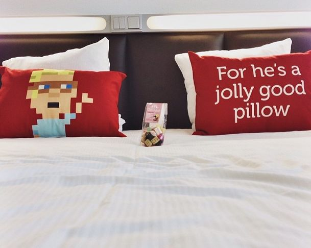 For he's a jolly good pillow! A guest took this pic in his room!