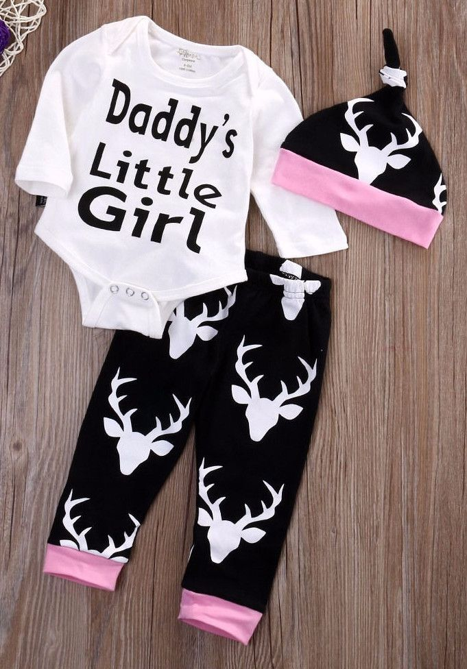 Baby girl outfit. Daddy's little girl. White, black and pink deer print baby girl outfit.