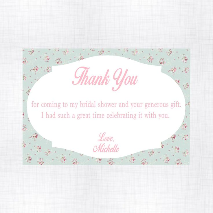 Complement your Shabby Chic bridal shower theme with these elegant cards. Create an unforgettable thank you message to your special guests and family. Quantity