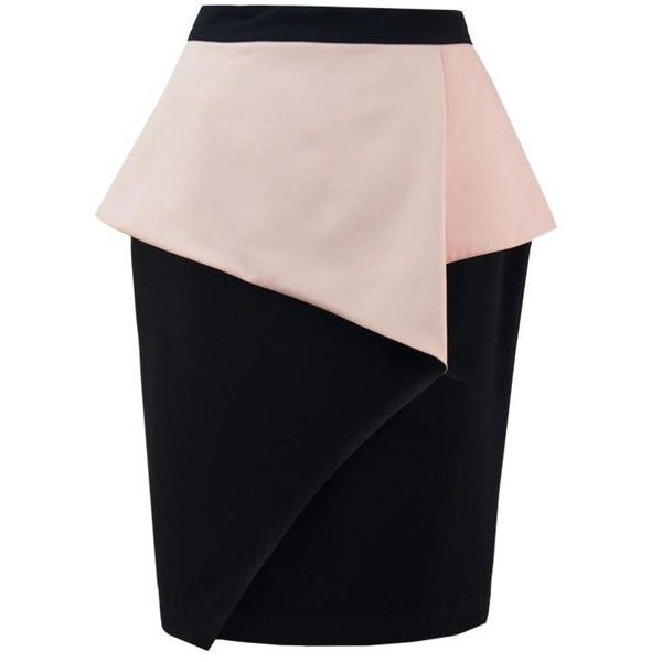 Crossover Peplum Skirt (4.160 RUB) ❤ liked on Polyvore featuring skirts, fold over skirt, black skirt, black knee length skirt, foldover skirt and black peplum skirt