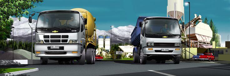 Camiones GM en paisaje Urbano - Ilustración en Photoshop