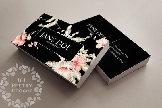 Floral business card design, custom business card template, printable business…