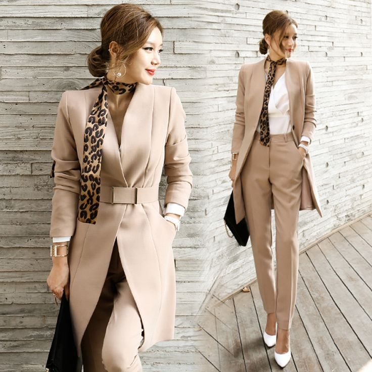 (3 pieces = coat + pants + belt) new OL career female two suit trousers suit Slim in the long suit-do760