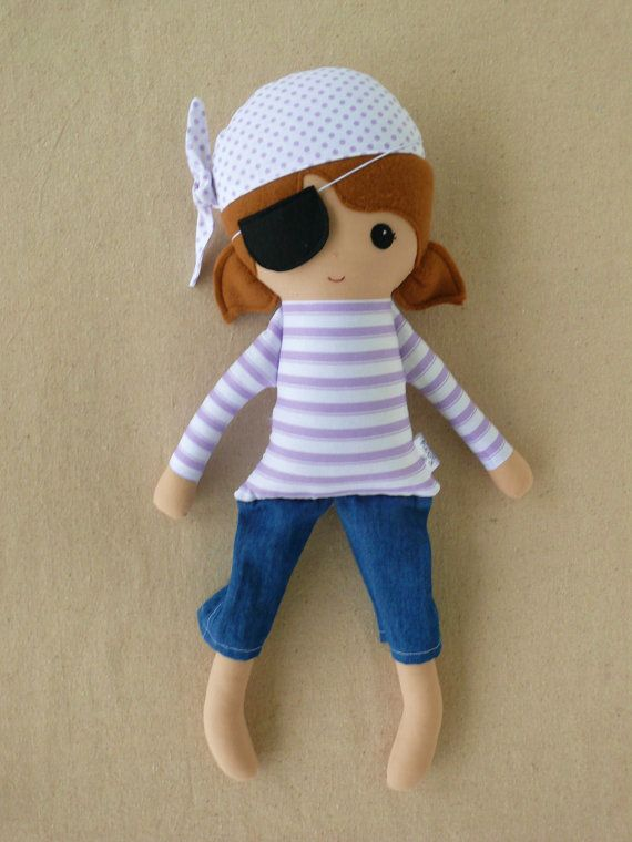 Fabric Doll Rag Doll Purple Pirate Girl - too cute & makes me thinks of Min & The girls