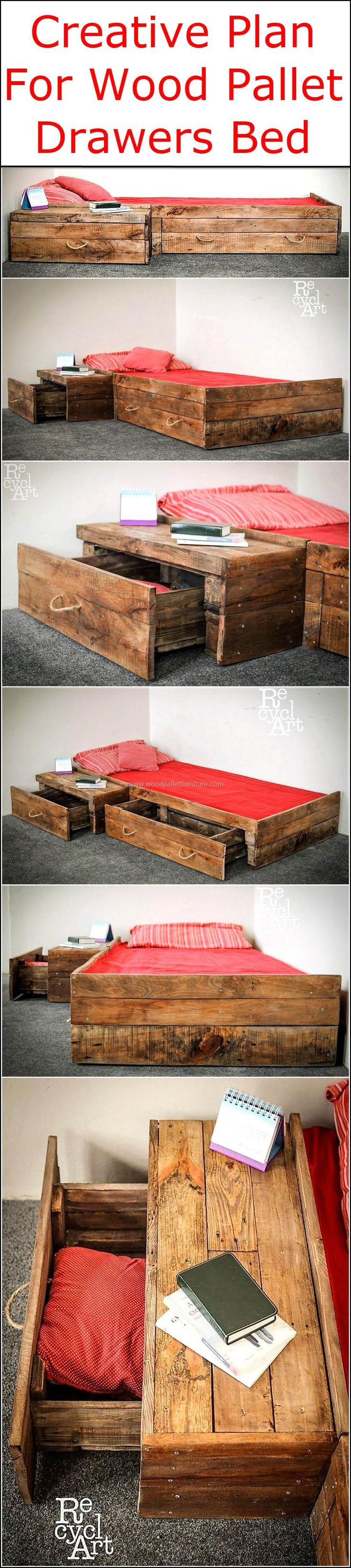 Have you ever planned to design out a usable bed structure through the artistic and unique transformation of recycled wooden pallet planks, if not then think it now. It's time to shape out an amazing and creative bed frame with drawers to meet your bedding requirements at affordable rates.  #pallets #woodpallet #palletfurniture #palletproject #palletideas #recycle #recycledpallet #reclaimed #repurposed #reused #restore #upcycle #diy #palletart #pallet #recycling #upcycling #refurnish…