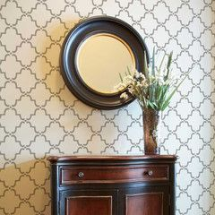 Small Moorish Trellis Stencil//In a different color, this could work on our entry wall