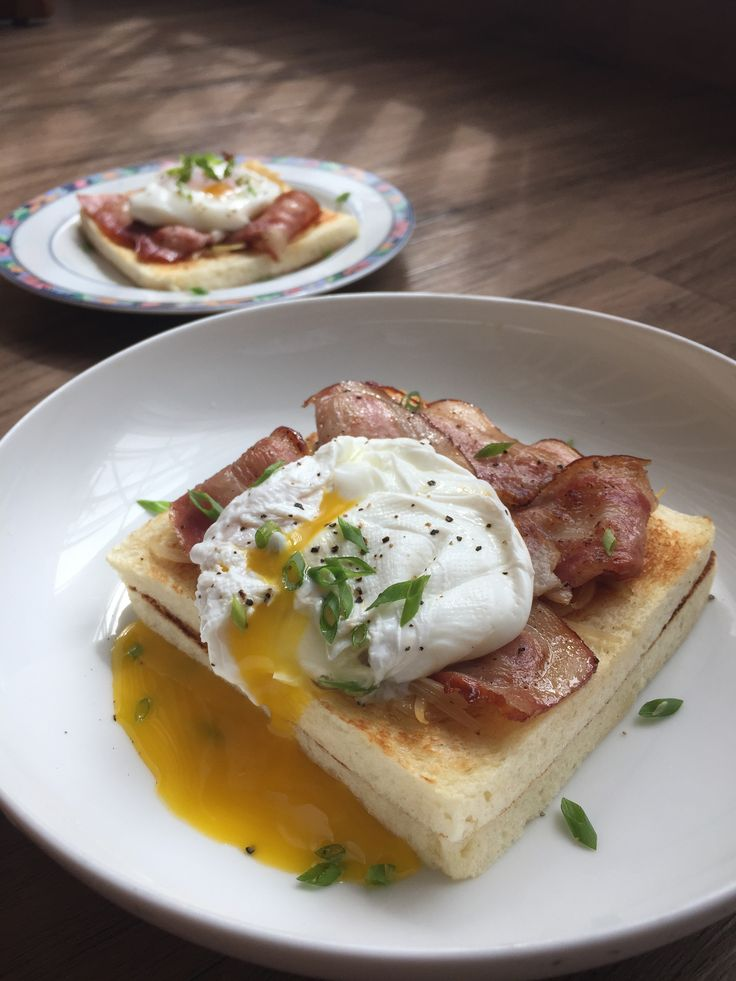 poached egg, onions, bacon on open toasts
