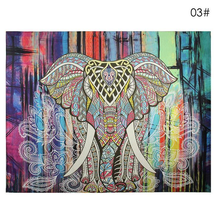 Wand Teppich Elefanten Tapisserie Farbige Gedruckt Dekorative Mandala Tapestry Indischen Boho Handwerk