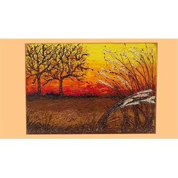 """Dipinti Moderni Paesaggi """"Campagna al tramonto"""" Materico acrilico su tela. I colori caldi del tramonto, nella tarda estate Salentina. I rami secchi sono impreziositi da quarzi, gemme e graniglie. Per un arredamento rustico, etnico, antico e classico...anche moderno!!!"""