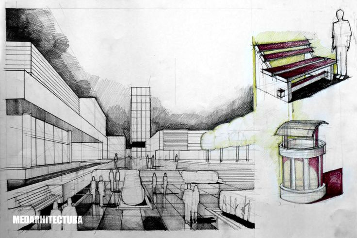 Urban Perspective. The detailed foreground shows human scale quite well. Could use a bit more work. Pencil + Colored Crayons on 50x70 Standard Paper, 5 Hours Completion Time #architecture #architect #rendering