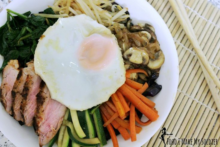 Paleo Bibimbap! Healthy, Gluten Free, Dairy Free, non-GMO, local grown, Primal, Low Carb....lose the egg and pork and it can even be Vegan lol. Endless amount of options with this one :)