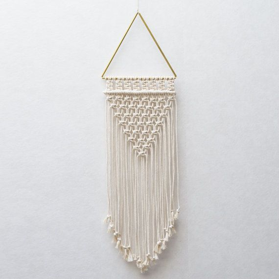 Triangle Macrame Wall Hanging / Macrame brass / by TeddyandWool