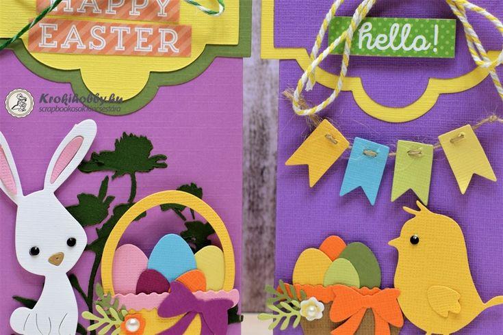 Húsvéti meglepetés tasakok Nagyon helyes kis dobozkákat készíthetünk a Sizzix Bigz XL (661557) vágósablonjával.
